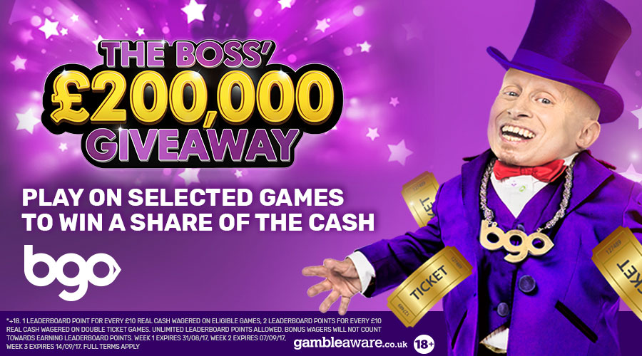 bgo new promotion The Boss £200K giveaway