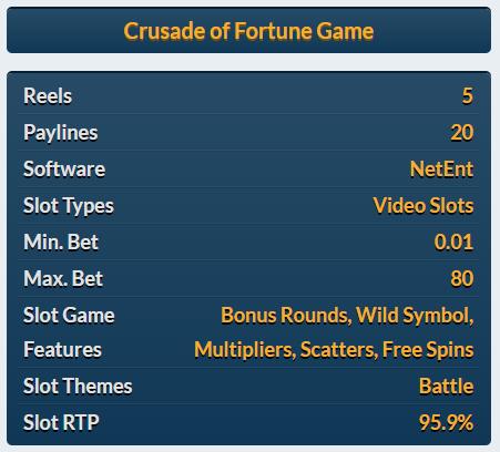 Crusade of fortune slot Netent