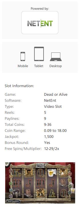Dead or Alive slot Netent