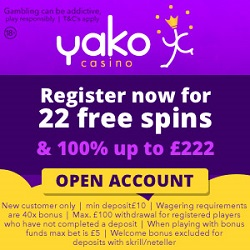 Yako casino 22 no deposit free spins