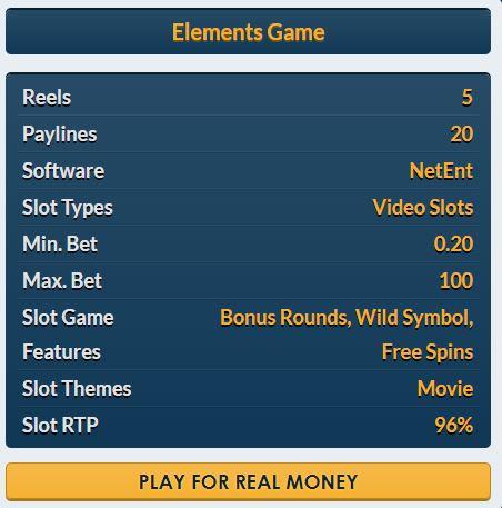 Elements slot Netent