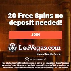 20 no deposit free spins LeoVegas