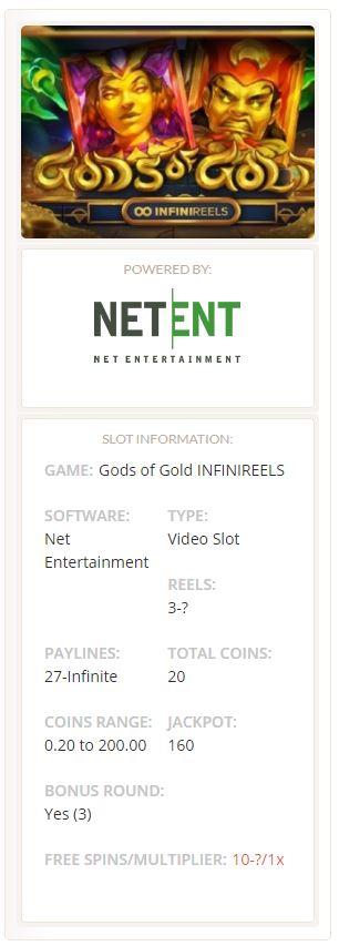Gods of Gold INFINIREELS slot Netent
